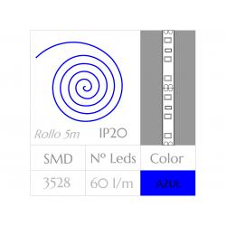 Tira LED  (5m)  AZUL  60Leds/m  24w  NO Impermeable