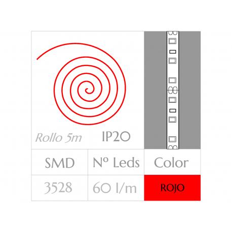 Tira LED  (5m)  ROJO PURO  60Leds/m  24w  NO Impermeable