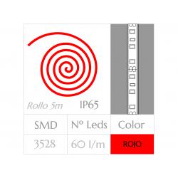 Tira LED  (5m)  ROJO PURO  60Leds/m  24w  IMPERMEABLE