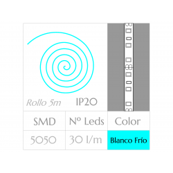 Tira LED  (5m)  Luz Fría 6000ºK  SMD 5050 30Leds/m  24w  NO Impermeable