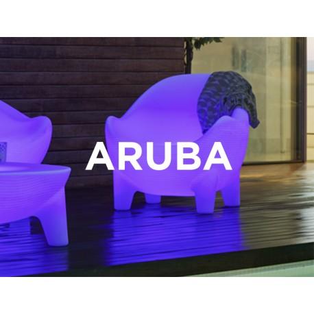 Sillon Luminoso ARUBA RGB mobiliario led con batería y carga solar para uso exterior e interior. Resistencia a UV.