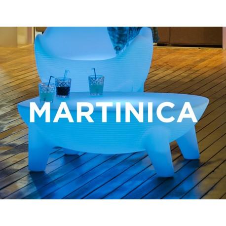 Mesa Luminosa MARTINICA RGB mobiliario led con batería y carga solar para uso exterior e interior. Resistencia a UV.