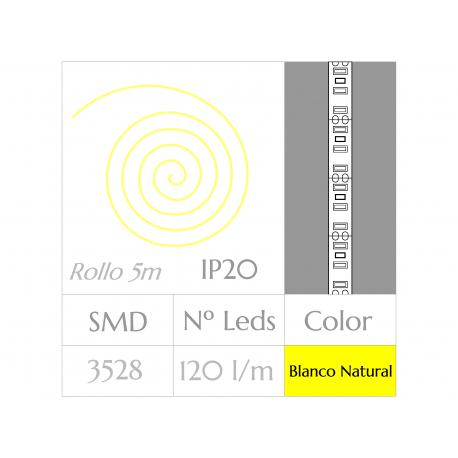 Tira LED  (5m)  Luz Natural 4500ºK  120Leds/m  NO Impermeable