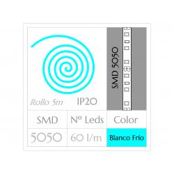 Tira Led Rollo de 5m SMD3528 300Leds Blanco Puro NO impermeable