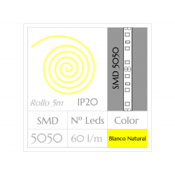 Tira LED  (5m)  Luz Fría 6000ºK SMD 5050 60Leds/m NO Impermeable