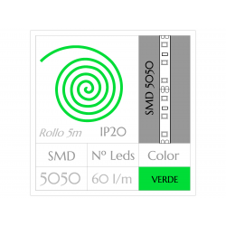 Tira LED  (5m)  VERDE PURO SMD 5050 60Leds/m NO Impermeable