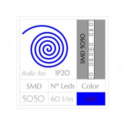 Tira LED  (5m)  AZUL PURO SMD 5050 60Leds/m NO Impermeable