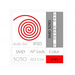 Tira LED  (5m) ROJO PURO SMD 5050 60Leds/m NO Impermeable