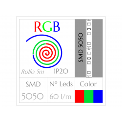 Tira Led RGB Multicolor (5m) SMD5050 60Leds/m  NO Impermeable