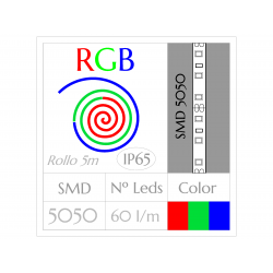 Tira Led RGB Multicolor (5m) SMD5050 60Leds/m  IMPERMEABLE