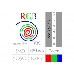Tira Led RGB Multicolor (5m) SMD5050 30Leds/m  NO Impermeable