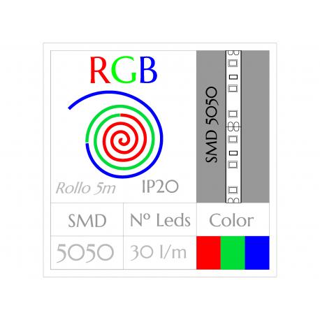 Tira Led RGB Multicolor (5m) SMD5050 30Leds/m  NO Impermeable