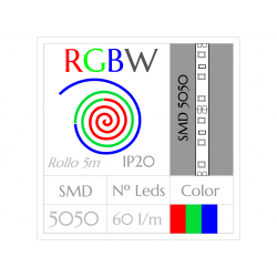 Tira Led RGBW Multicolor+Blanco (5m) SMD5050 60Leds/m  NO Impermeable