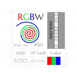 Tira Led RGBW Multicolor+Blanco (5m) SMD5050 60Leds/m  NO Impermeable