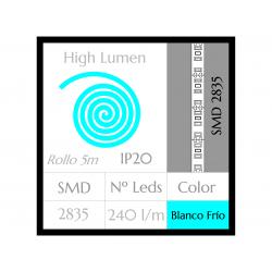 Tira LED ALTA POTENCIA Luz Fría 6000ºK SMD 2835 240Leds/m NO Impermeable