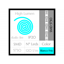 Tira LED ALTA POTENCIA Luz Fría 6000ºK SMD 5730 120Leds/m NO Impermeable