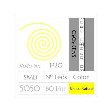 Tira LED  (5m)  Luz Natural 4500ºK  60Leds/m  No IMPERMEABLE