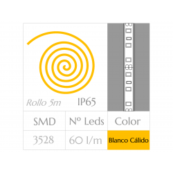 KIT COMPLETO de Tira LED  (5m)  Luz Cálida 3000ºK  60Leds/m  24w  IP65 IMPERMEABLE