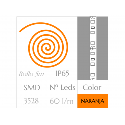 KIT COMPLETO de Tira LED  (5m)  Luz AMARILLA-ANARANJADA 60Leds/m  24w   IP65 IMPERMEABLE