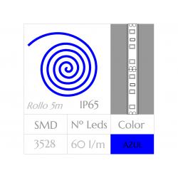 KIT COMPLETO de Tira LED  (5m)  Luz AZUL 60Leds/m  24w  IP65 IMPERMEABLE