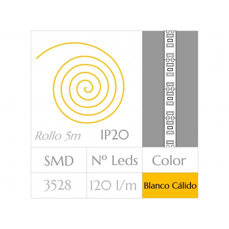 KIT COMPLETO de Tira LED  (5m)  Luz Blanco Cálido 3000ºK  120 Leds/m  NO Impermeable