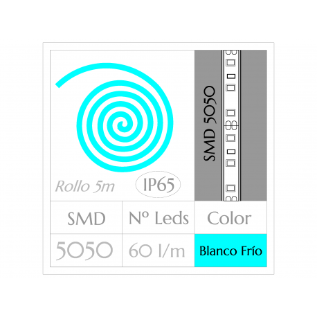 KIT COMPLETO de Tira LED  (5m)  BLANCO FRÍO 6000ºK  SMD5050  60 Leds/m  IMPERMEABLE