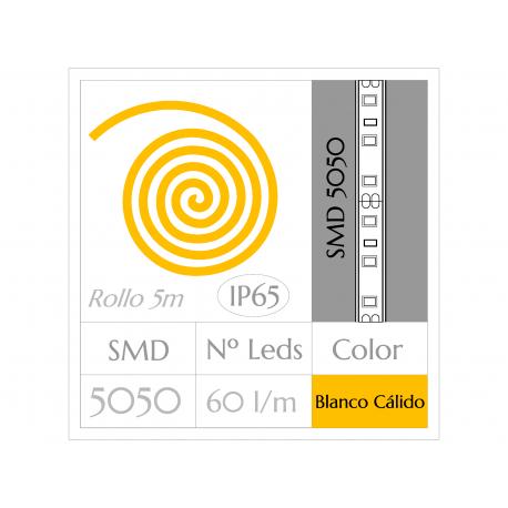 KIT COMPLETO de Tira LED  (5m)  BLANCO CÁLIDO 3000ºK  SMD5050  60 Leds/m  IMPERMEABLE