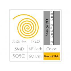 KIT COMPLETO de Tira LED  (5m)  Luz BLANCO CÁLIDO 3000ºK  SMD5050  60 Leds/m  NO Impermeable