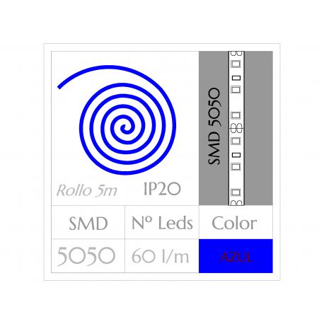 KIT COMPLETO de Tira LED  (5m)  AZUL PURO SMD5050  60 Leds/m  NO Impermeable