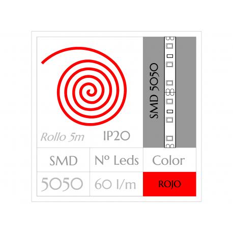 KIT COMPLETO de Tira LED  (5m)  ROJO PURO SMD5050  60 Leds/m  NO Impermeable