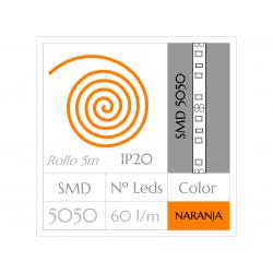 KIT COMPLETO de Tira LED  (5m)  NARANJA PURO SMD5050  60 Leds/m  NO Impermeable