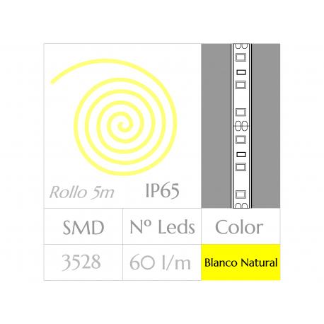 KIT COMPLETO de Tira LED  (5m)  Luz Natural 4500ºK  60Leds/m  24w  IP65 IMPERMEABLE