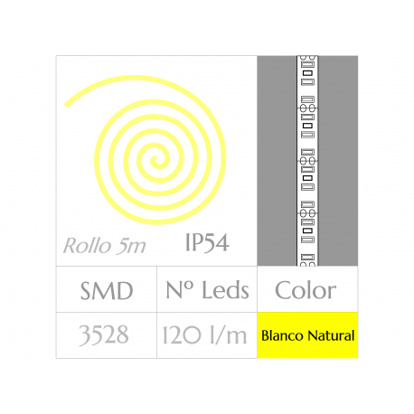 KIT COMPLETO de Tira LED  (5m)  Luz Natural 4500ºK  120 Leds/m  IMPERMEABLE
