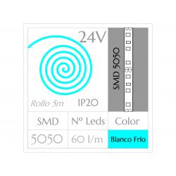 Tira LED 24V  (5m)  Luz Fría 6000ºK SMD 5050 60Leds/m NO Impermeable