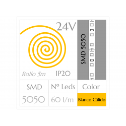 Tira LED 24V  (5m)  Luz CÁLIDA 3000ºK SMD 5050 60Leds/m NO Impermeable