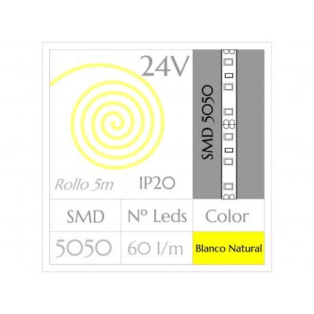 Tira LED 24V  (5m)  Luz Natural 4500ºK SMD 5050 60Leds/m NO Impermeable