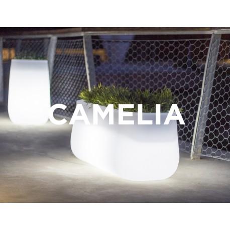 Macetero LED Luminoso CAMELIA 60 RGB  con batería y carga solar para uso exterior e interior. Resistencia a UV. Incluye mando.