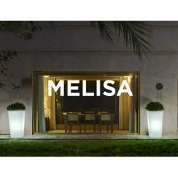 Macetero LED Luminoso MELISA 30 RGB  con batería y carga solar para uso exterior e interior. Resistencia a UV. Incluye mando.