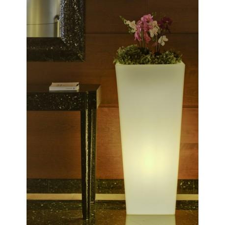 Macetero LED Luminoso MELISA 40 RGB  con batería y carga solar para uso exterior e interior. Resistencia a UV. Incluye mando.