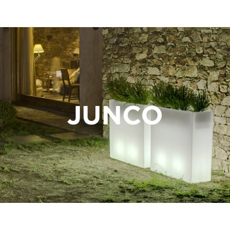 Macetero LED Luminoso JUNCO 80 con cable de neopreno 2m. y terminal Shucko para uso exterior e interior. Protección IP65