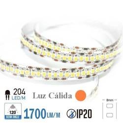 Tira LED ALTA POTENCIA  Luz Cálida 3000ºK SMD 2835 204Leds/m NO Impermeable