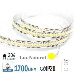 Tira LED ALTA POTENCIA  Luz Natural 4000ºK SMD 2835 204Leds/m NO Impermeable