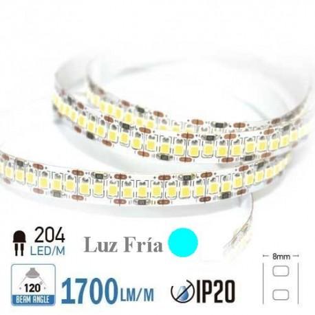 Tira LED ALTA POTENCIA Luz Fría 6000ºK SMD 2835 204Leds/m NO Impermeable
