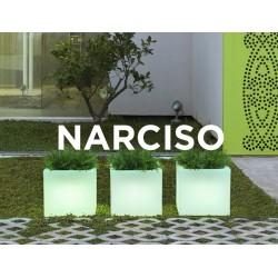 Macetero LED Luminoso NARCISO 40 con cable de neopreno 2m. y terminal Shucko para uso exterior e interior. Protección IP65