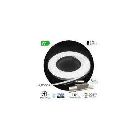 NEON Flex LED 24V BLANCO NATURAL 4500ºK  (10 metros)  10W/m