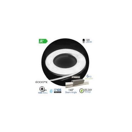 NEON Flex LED 24V BLANCO PURO 6000ºK  (10 metros)  10W/m