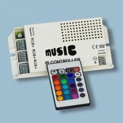 Controlador Luz Tiras Led RGB Multicolor Dimmer Sensor de Sonido 12V-24V 5A 288W incluye mando 24 botones